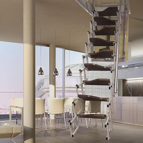 scale retrattili motorizzate a parete verticale